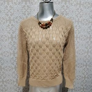 Vintage Billie Jo Tan Crochet Sweater Made in USA